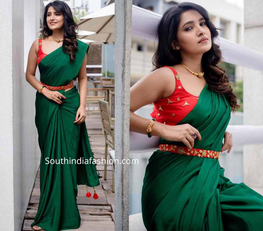vani bhojan green saree with red belt
