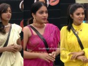 vithika, punarnavi and sreemukhi in ruffle sarees biggboss