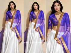 ATHIYA SHETTY WHITE BLUE LEHENGA AT WEDDING