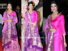 LAKSHMI MANCHU PINK PURPLE LEHENGA AT ARCHANA SHASTRY WEDDING RECEPTION