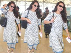 SONAKSHI SINHA PRINTED KURTA SET HYDERABAD AIRPORT