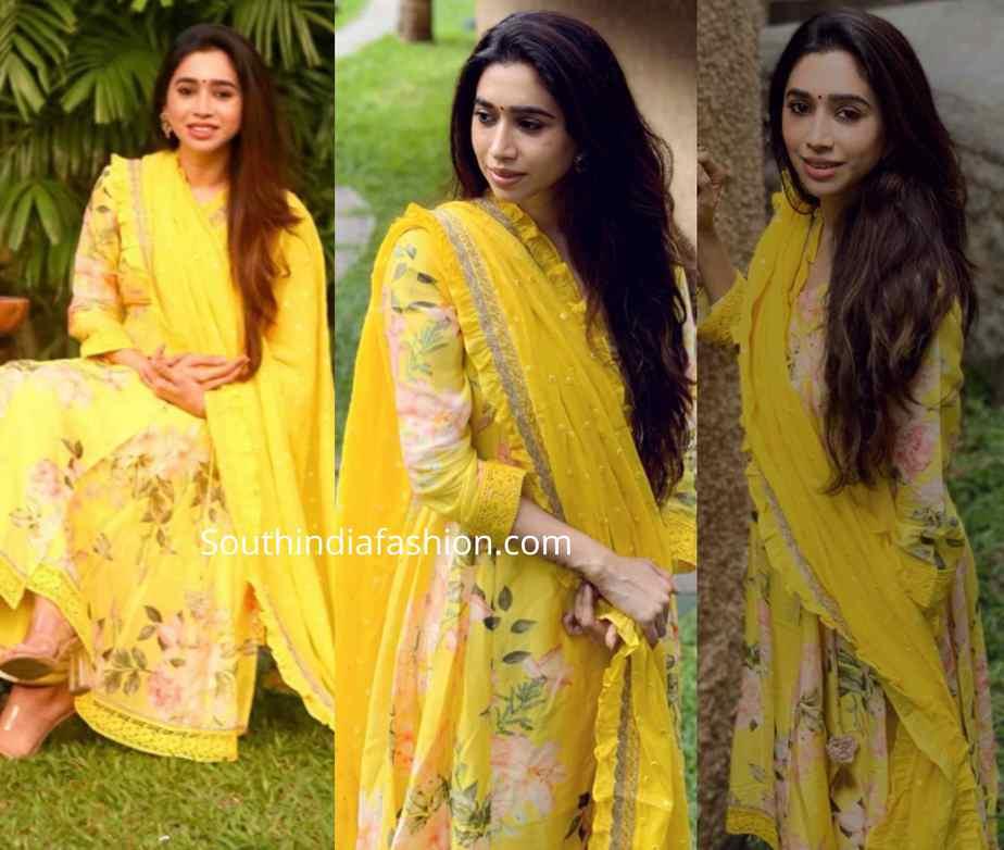 aarti ravi diwali yellow floral kurta set