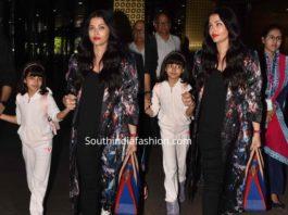 aishwarya and aaradhya at airport