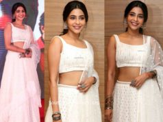 aishwarya lakshmi in white lehenga at action pre release