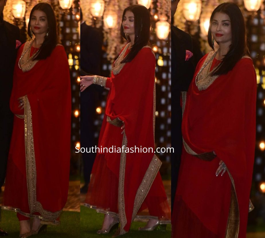 aishwarya rai bachchan red anarkali at ambani pre wedding party