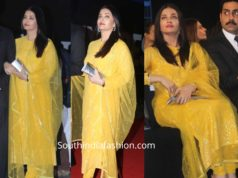 aishwarya rai bachchan yellow anarkali suit