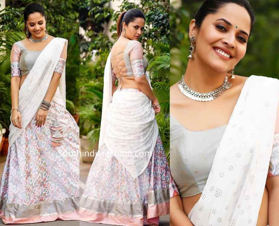anasuya white ikat silk half saree