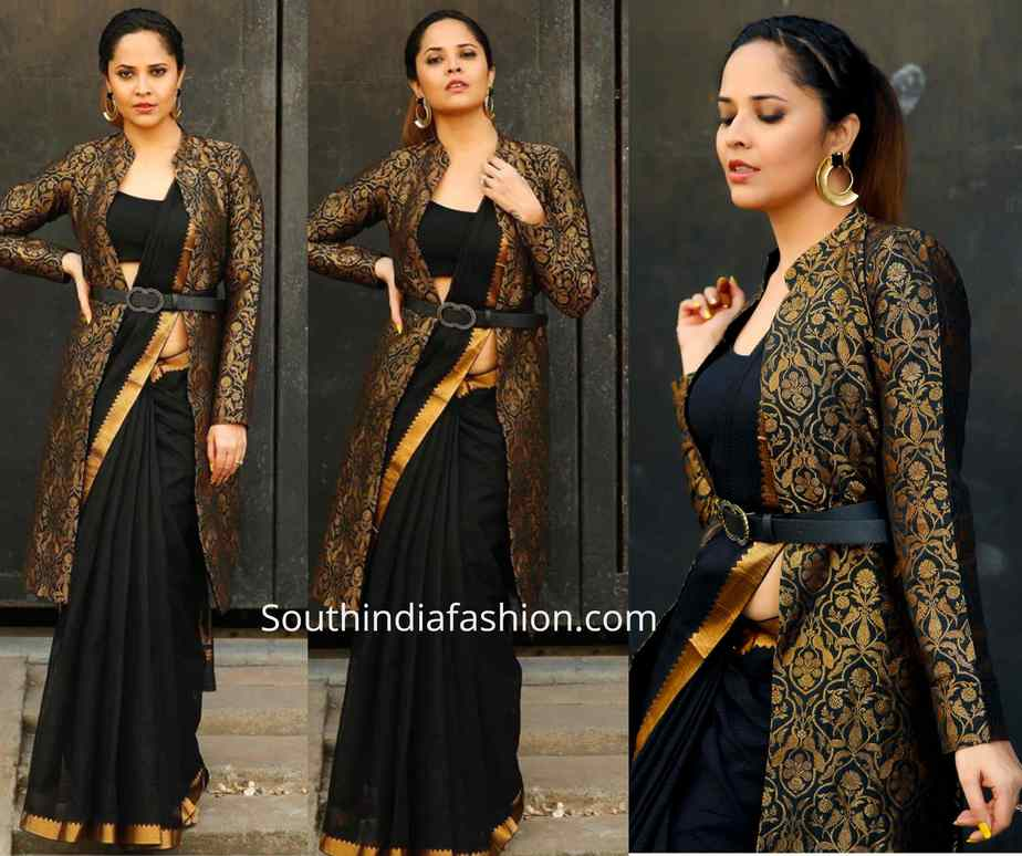 anchor anasuya black saree with broade jacket