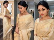 anu emmanuel cream and gold kanjeevaram saree