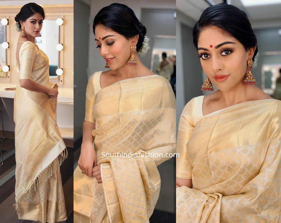 anu emmanuel cream and gold kanjeevaram saree