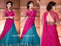 athulya ravi pink blue half saree