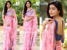 avantika mishra pink saree at meeku mathrame chepta success meet