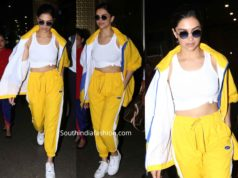 deepika padukone airport yellow track suit