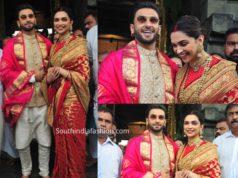deepika padukone in red sabyasachi saree marriage anniversary (1)