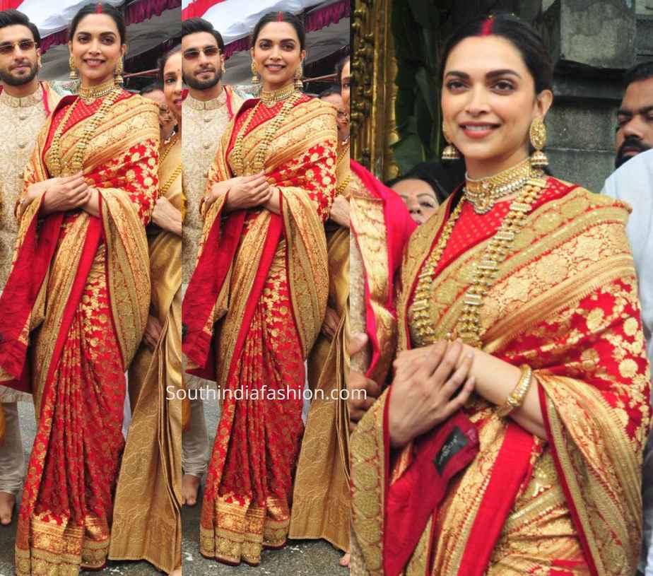 deepika padukone in red sabyasachi saree marriage anniversary