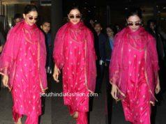 deepika padukone pink slawar kameez at airport
