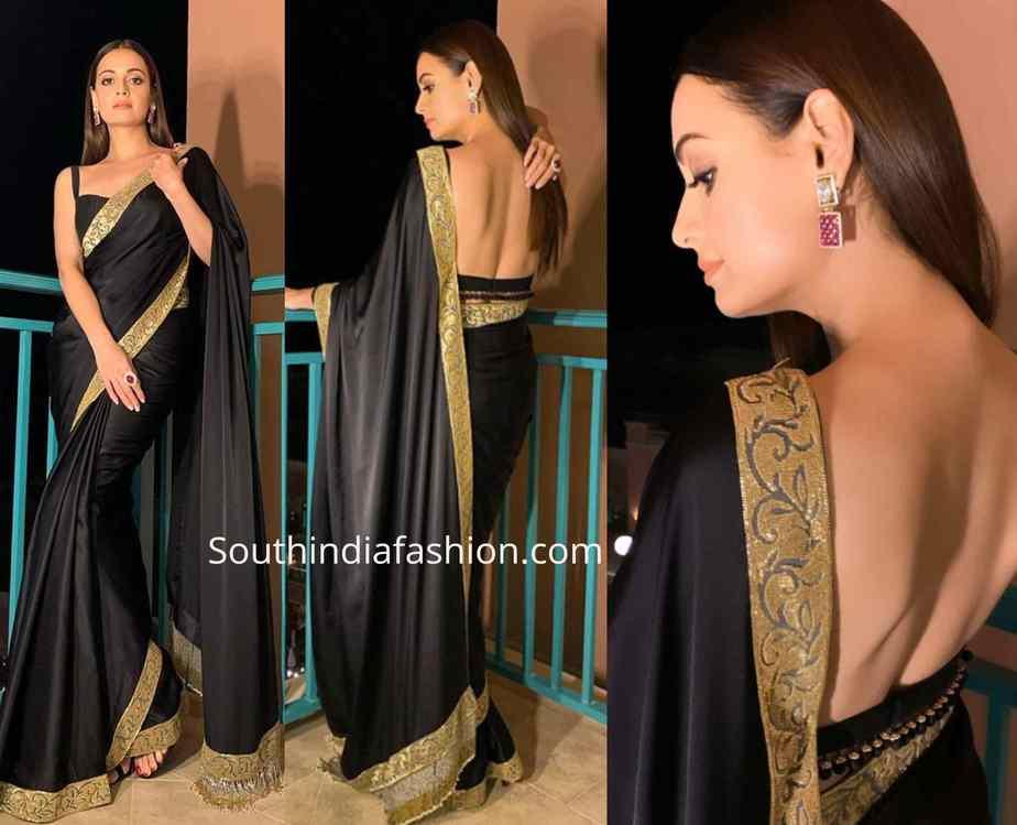 dia mirza black saree (1)