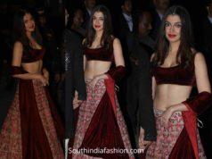 divya khosla kumar maroon lehnega at diwali party