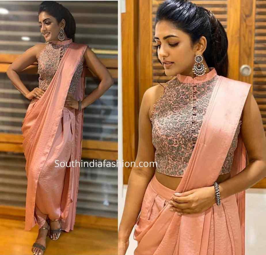 eesha rebba pink dhoti saree