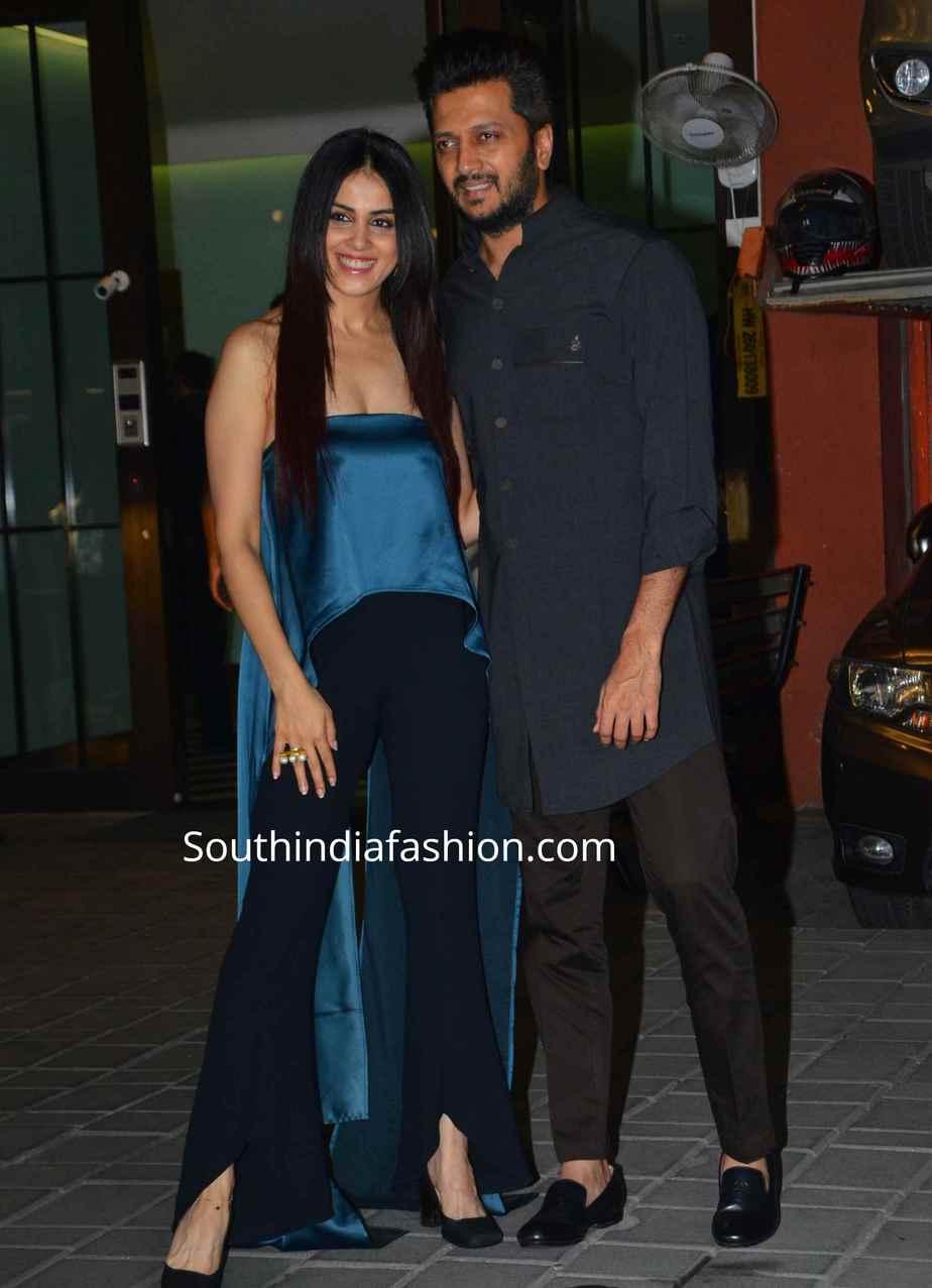 genelia at arpita khan and aayush sharma wedding anniversary (2)