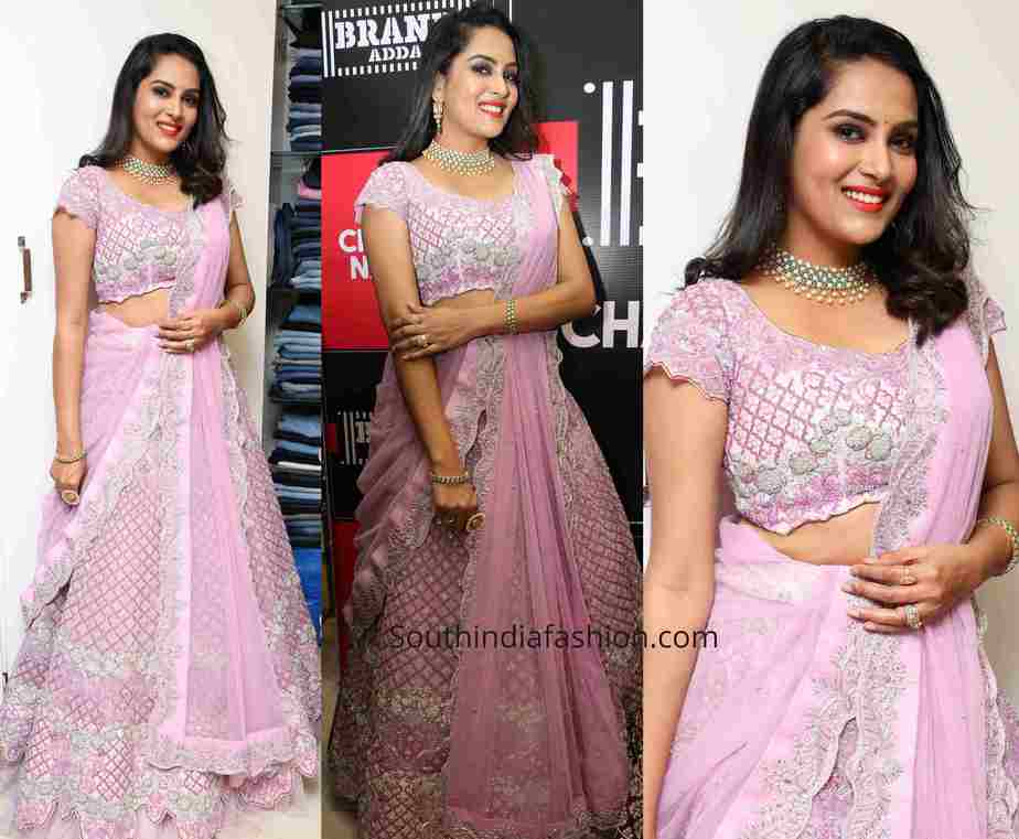 himaja in lavender half saree at brand adda store alunch