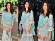 janhvi kapoor blue cotton sharara suit