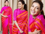 kajal aggarwal in pink orange striped saree by raw mango (3)