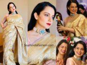 kangana ranaut banarasi silk saree at her brother engagement