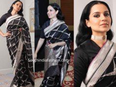 kangana ranaut black banarasi silk saree