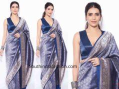 karishma tanna blue banarasi silk saree bigg boss 13