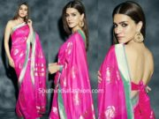 kriti sanon in pink silk saree at panipat promotions