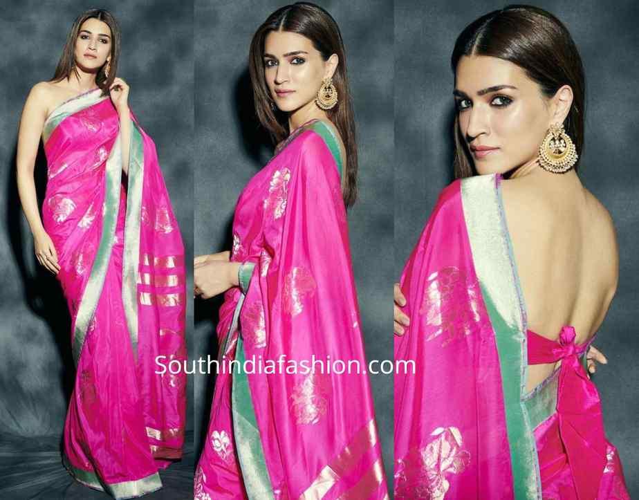 kriti sanon in pink silk saree at panipat promotions