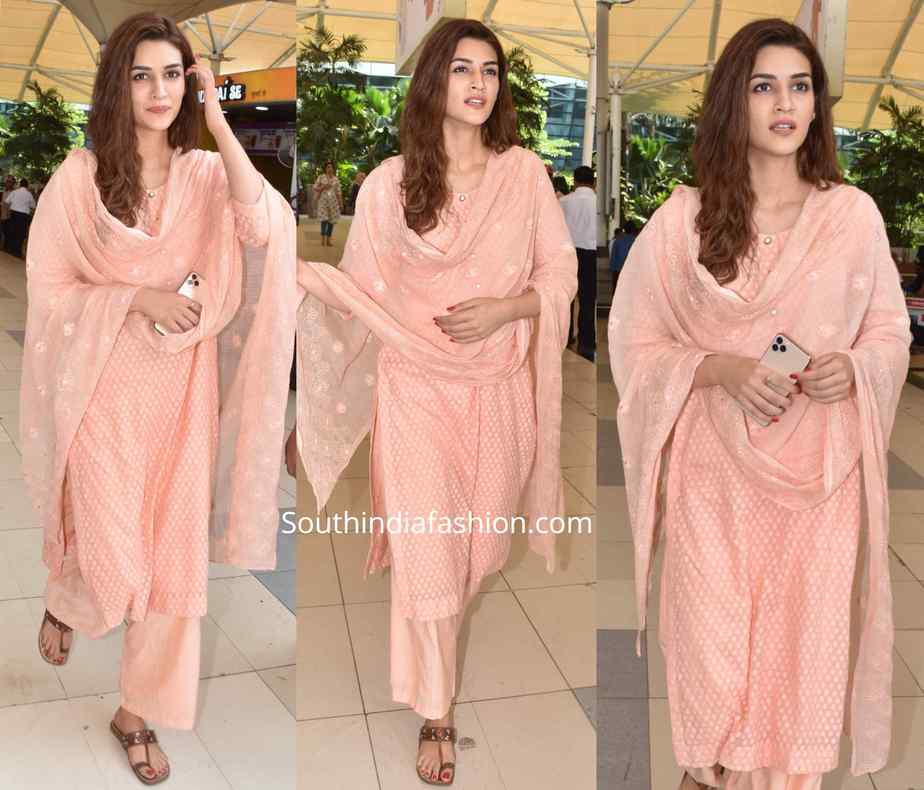 kriti sanon peach salwar kameez at airport