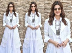 kriti sanon white dress panipat promotions