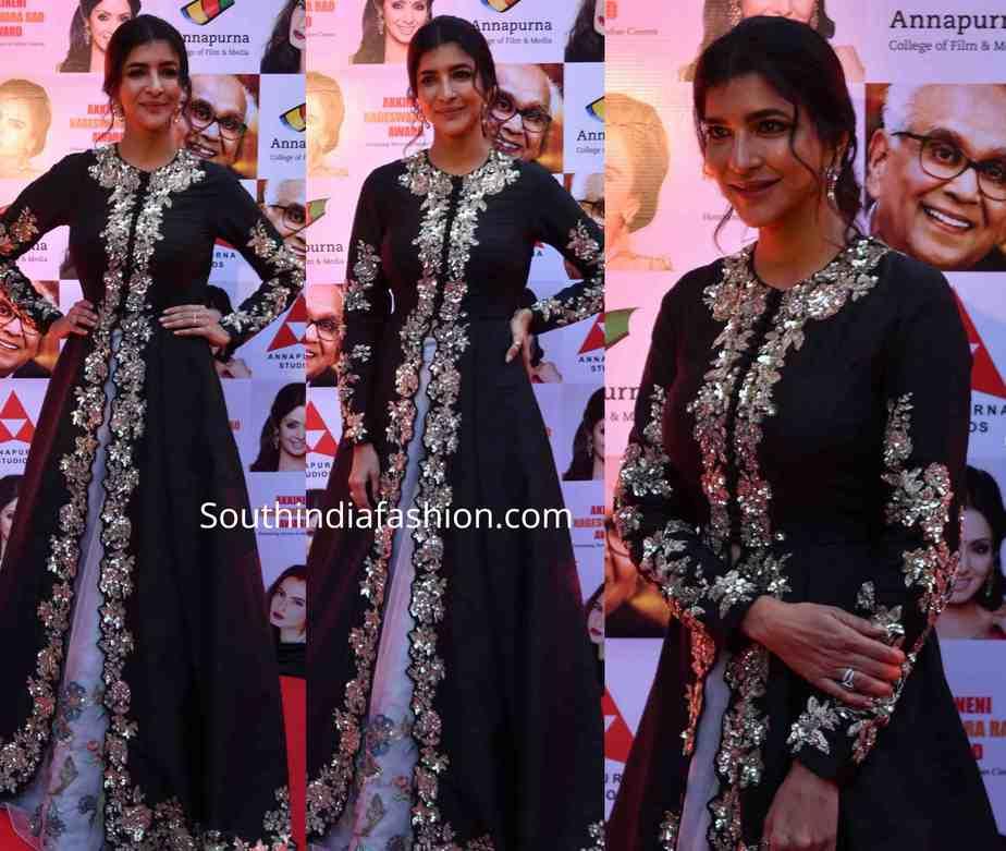 lakshmi manchu black dress at anr national awards