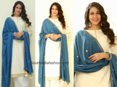 lavanya tripathi in white palazzo suit at arjun suravaram promotions