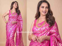 madhuri dixit in pink masaba saree