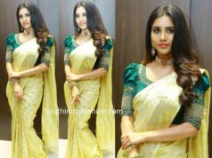 nabha natesh in gold kanjeevaram saree at sri kanchi alankar silks launch