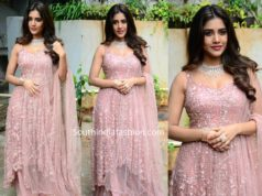 nabha natesh pink salwar kameez at a new movie opening