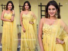 nidhii agerwal yellow anarkali at ashok galla new film launch