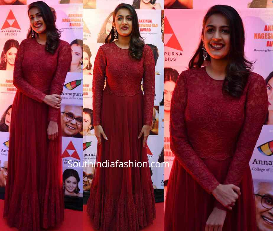 niharika konidela in maroon gown at anr national awards
