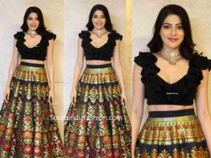 nikki tamboli long skirt crop top at tippara meesam pre release