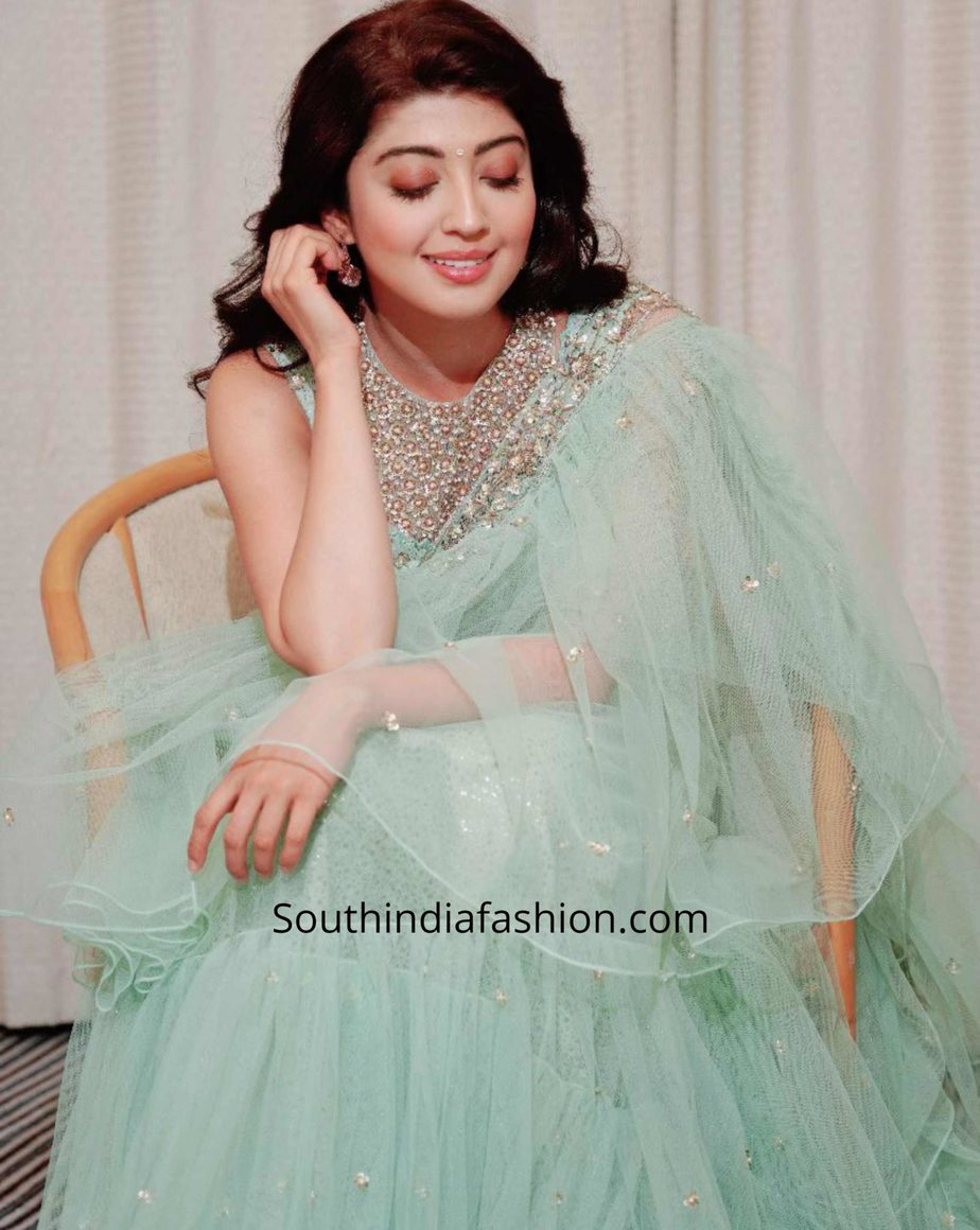 pranitha subhash blue ruffle saree (1)