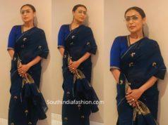 rani mukerji in blue saree for mardaani promotions