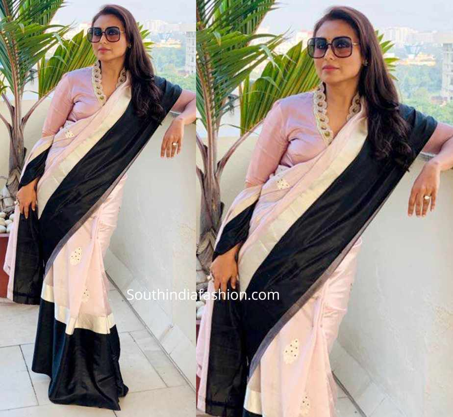 rani mukerji in raw mango saree for mardaani promotions