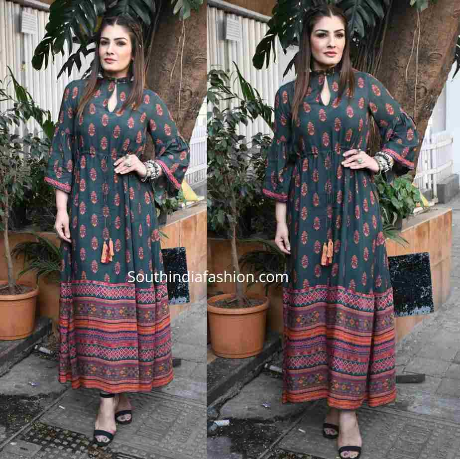 raveena tandon green printed maxi dress (1)