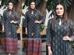 raveena tandon green printed maxi dress (2)