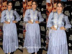 raveena tandon in grey skirt and top at hotel mumbai screening