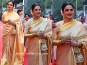 rekha in gold kanjeevaram saree at anr national awards