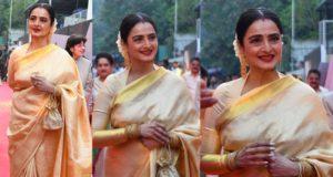 rekha in gold kanjeevaram saree at anr national awards